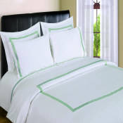 300 Thread Count Duvet Sets  3 line Merrow Embroidery - Sage